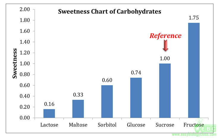 sweetness of different carbohydrates