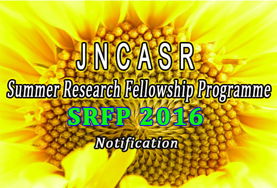 JNCASR SRFP 2016 Notification