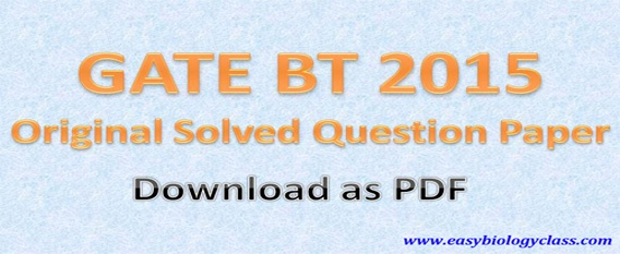 Question paper of GATE BT Exam