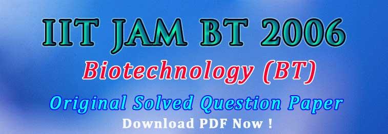 JAM BT 2006 Original Question Paper