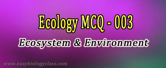 MCQ on Ecology