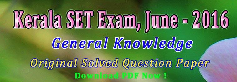 KSET Paper I GK June 2016 Solved Paper