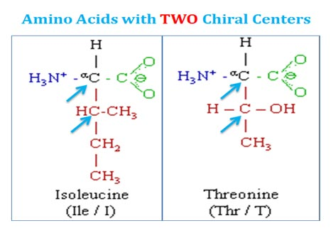 two chiral centre in amino acids