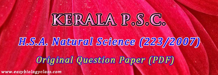 Biology HSA Kerala PSC Question Paper