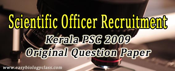 Kerala PSC Scientific Officer paper