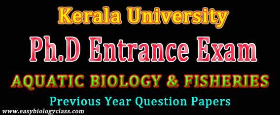 Aquatic Biology Phd Entrance Paper