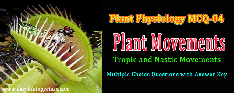 mcq on plant movments